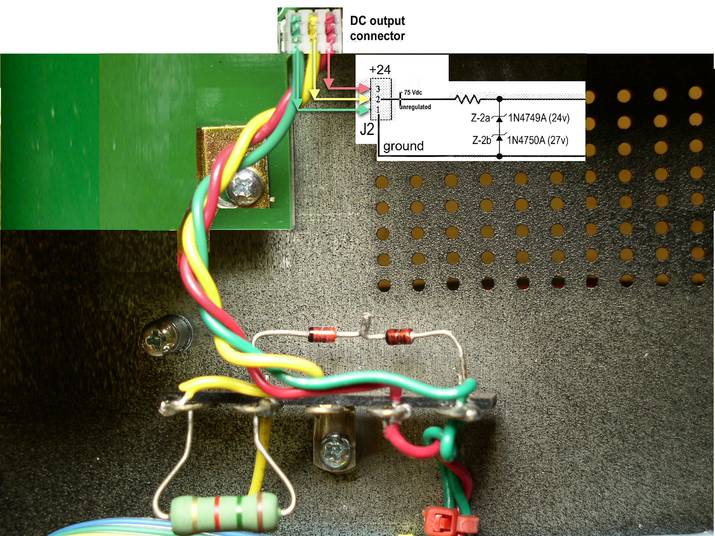 front panel switch wiring: 20db pad, phantom power switch (not visible,  input impedance / 6db switch