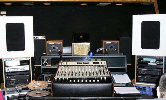 AMEK fram on wheels with 1975 Raindirk console in Eddie's Analog Tape Lab circa 2007