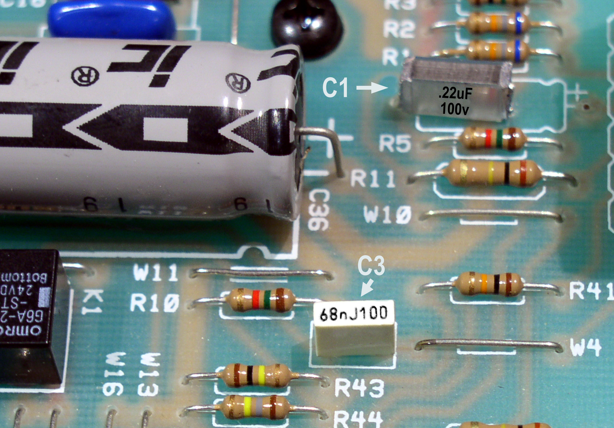 figure-2: locating c1 and c3 in the preamp section